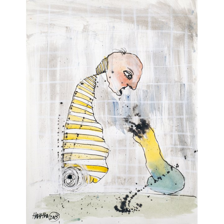 Michael Hafftka, Telepathy, watercolour, figurative painting on paper