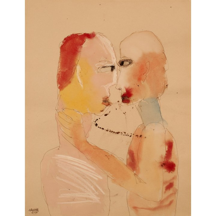 Michael Hafftka, Love, watercolor on paper, lovers kissing, figurative painting