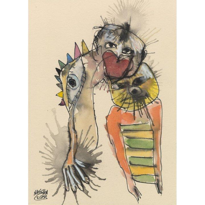 Michael Hafftka, Animal Kingdom, watercolour on paper figurative painting
