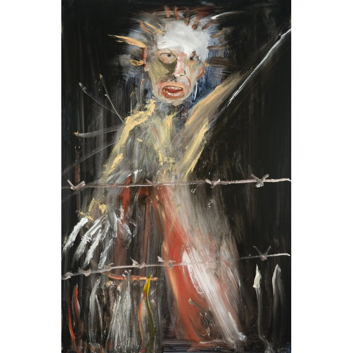 Michael Hafftka, Barbed, 2008 Holocaust Memorial figurative painting