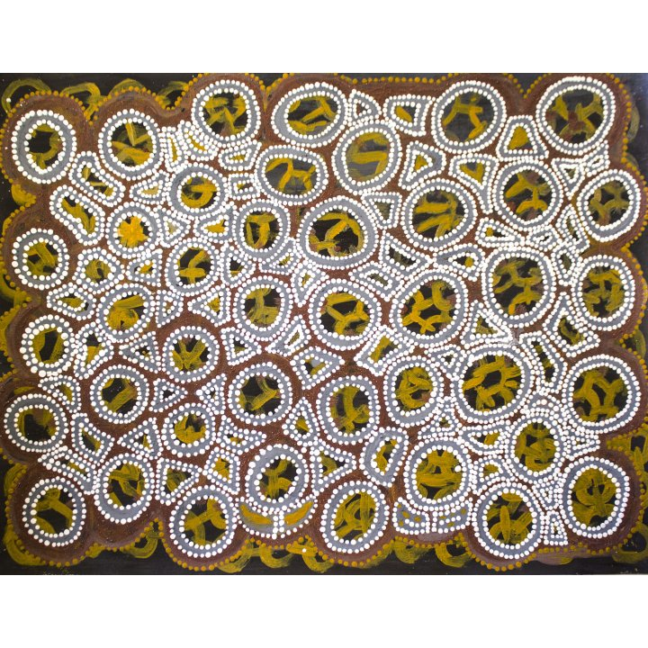 Kittey Ngyalgarri Malarvie, Luga, 2018, natural ochre on paper, 64.5 x 83 cm, Aboriginal painting