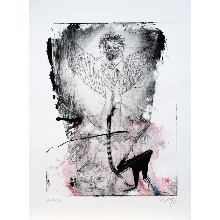 Michael Hafftka, Angel, 2019 etching monotype portrait