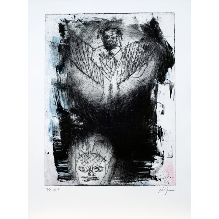 Michael Hafftka, Angel, monotype print handcoloured ink