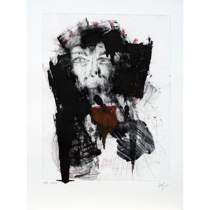 Michael Hafftka, Natalia, 2019 etching monotype portrait