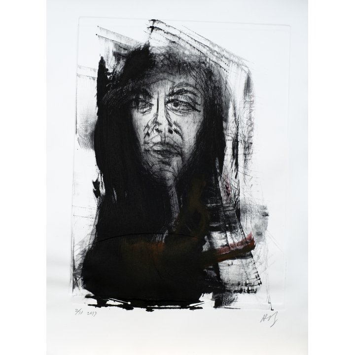 Michael Hafftka, Natalia, monotype print handcoloured ink, portrait