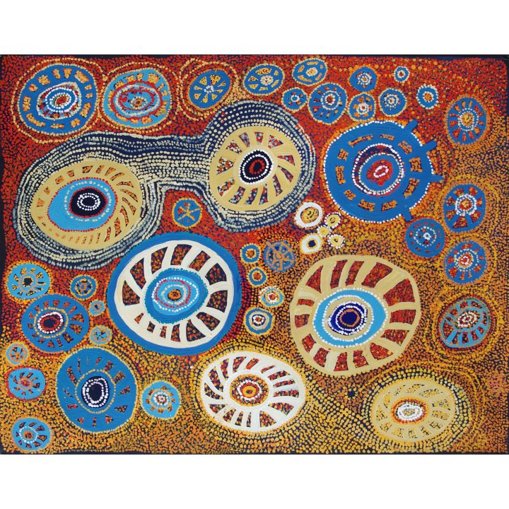 Mick Wikilyiri, Tjala Arts, Aboriginal honey ants painting, photo Galerie Zadra