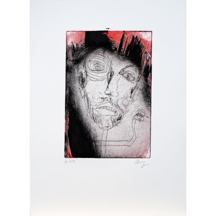 Michael Hafftka, Face, monotype print handcoloured ink 1.10