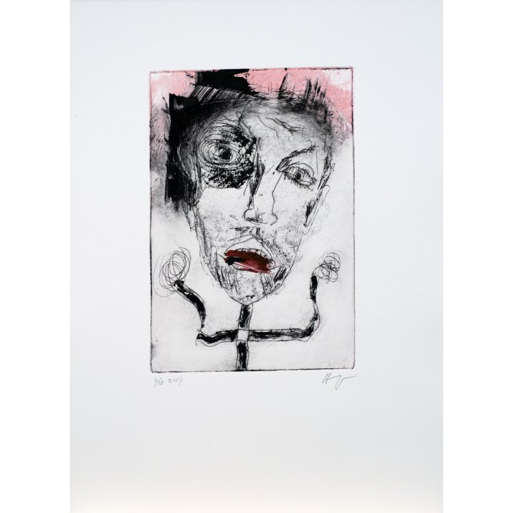 Michael Hafftka, Face, monotype print handcoloured ink 2.10