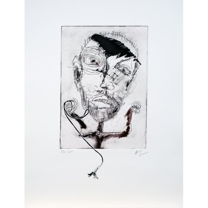 Michael Hafftka, Face, monotype print handcoloured ink 3.10