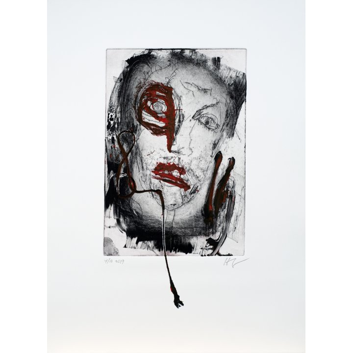 Michael Hafftka, Face, monotype print handcoloured ink 4.10