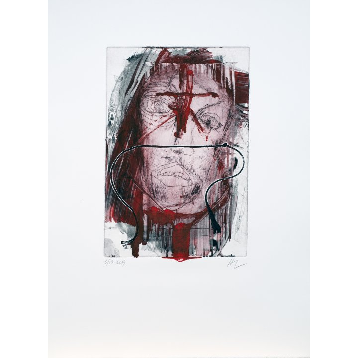 Michael Hafftka, Face, monotype print handcoloured ink