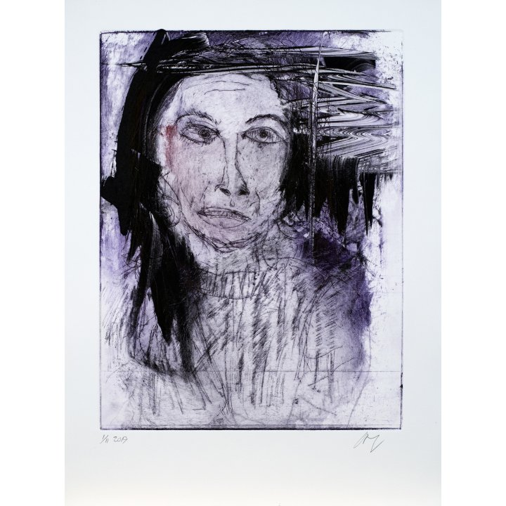 Michael Hafftka, Jessica, monotype print handcoloured ink portrait