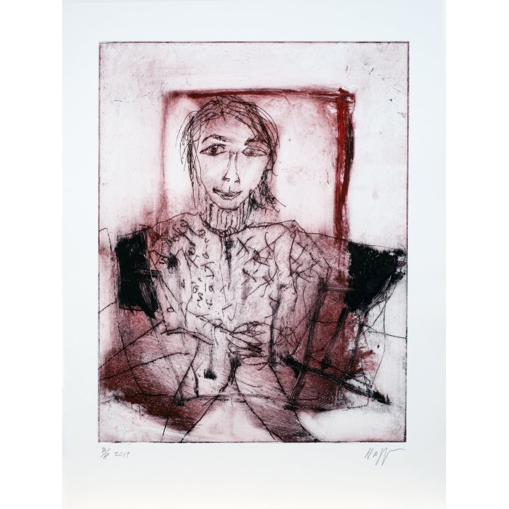 Michael Hafftka, Viktor, monotype print handcoloured watercolour 8.8