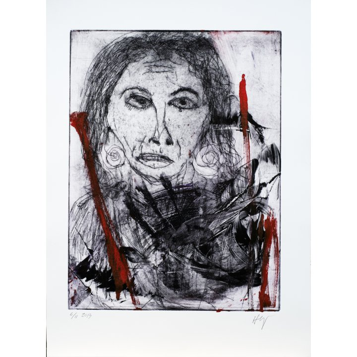 Michael Hafftka, Jessica, monotype print handcoloured ink, portrait