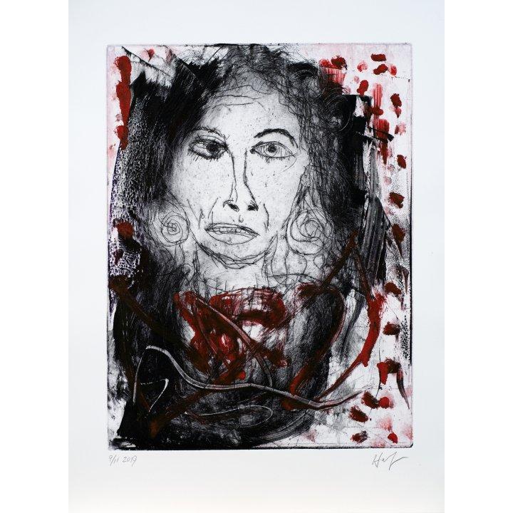 Michael Hafftka, Jessica, monotype print handcoloured ink, portrait
