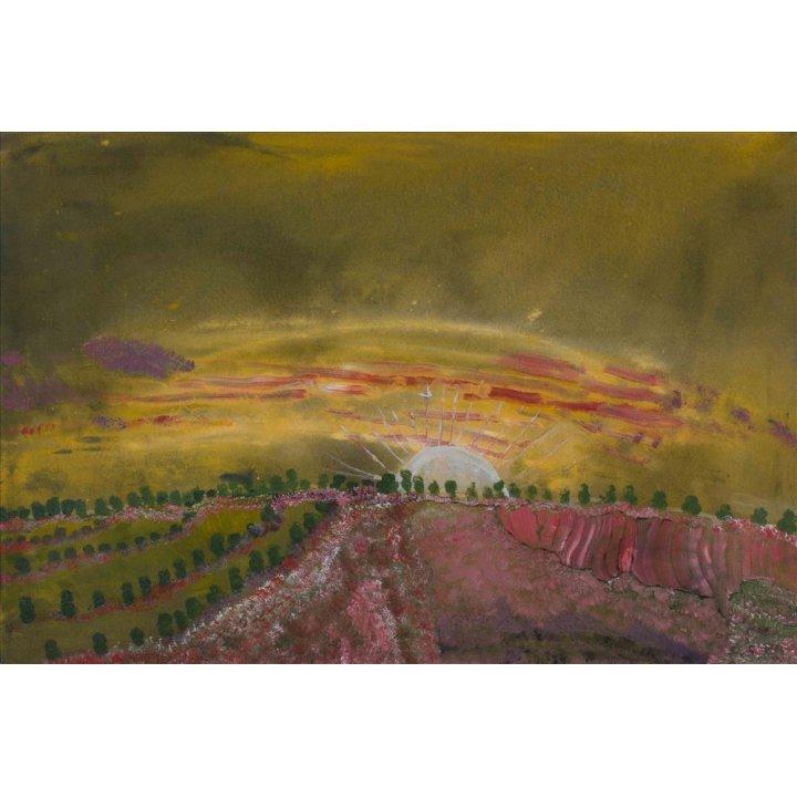 Victor Burton, aboriginal art landscape painting, sunrise