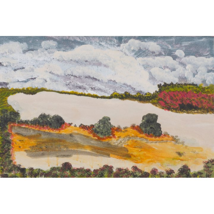 Victor Burton, aboriginal art landscape painting with salt lake