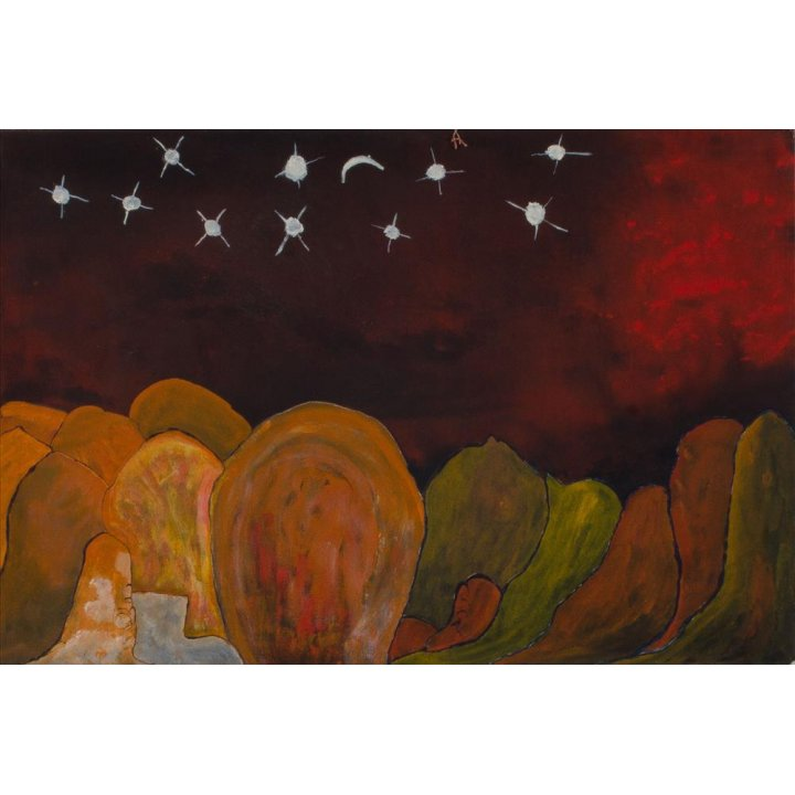 Victor Burton, aboriginal art painting, night sky