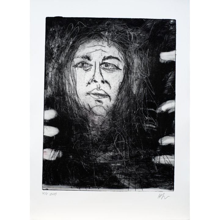 Michael Hafftka, Natalia, 2019 etching monotype portrait
