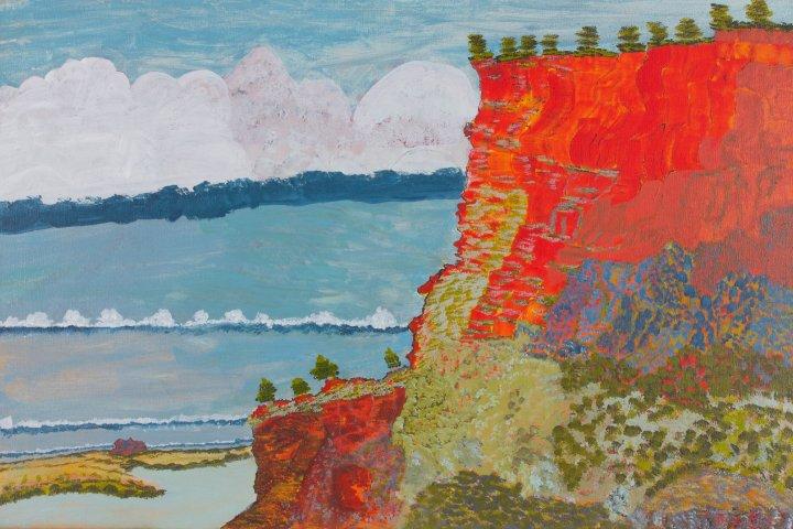 Victor Burton Aboriginal landscape painting