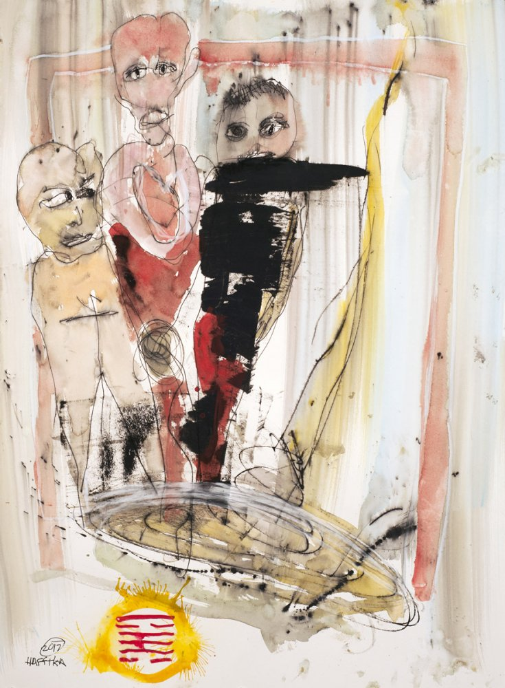 Michael Hafftka, Into The Realm of The Invisible, watercolour on paper figurative painting