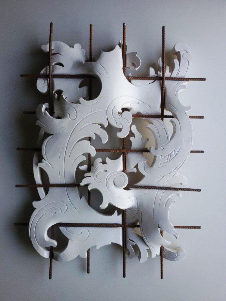 Egon Digon, Adjustment, carved wood, steel mesh, sculpture