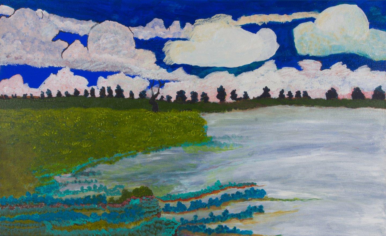 Victor Burton, acrylic Aboriginal landscape painting