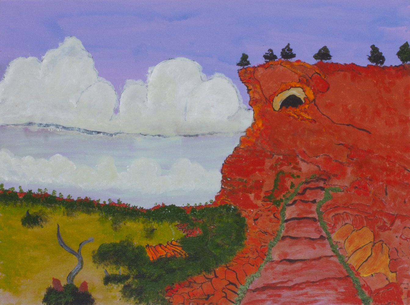 Victor Burton, Ngakgunalikujarra, acrylic Aboriginal landscape painting, 45.5x61cm