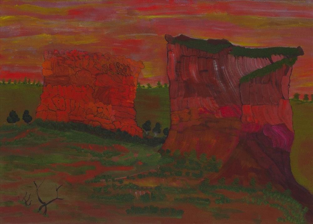 Victor Burton, red aboriginal art landscape painting
