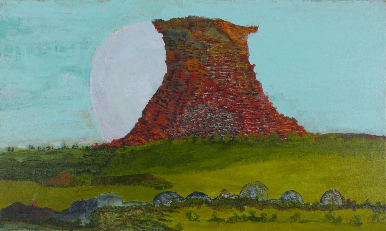 Victor Burton, aboriginal art landscape painting with moon