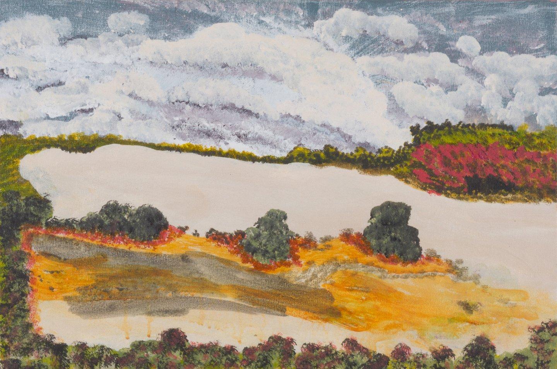 Victor Burton, aboriginal art landscape painting with salt lake
